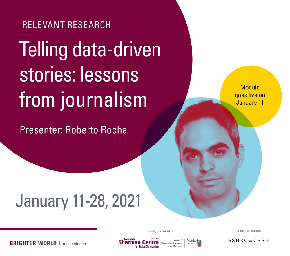 Relevant Research: Telling data-driven stories. Lessons from journalism.  With photo of presenter, Roberto Rocha