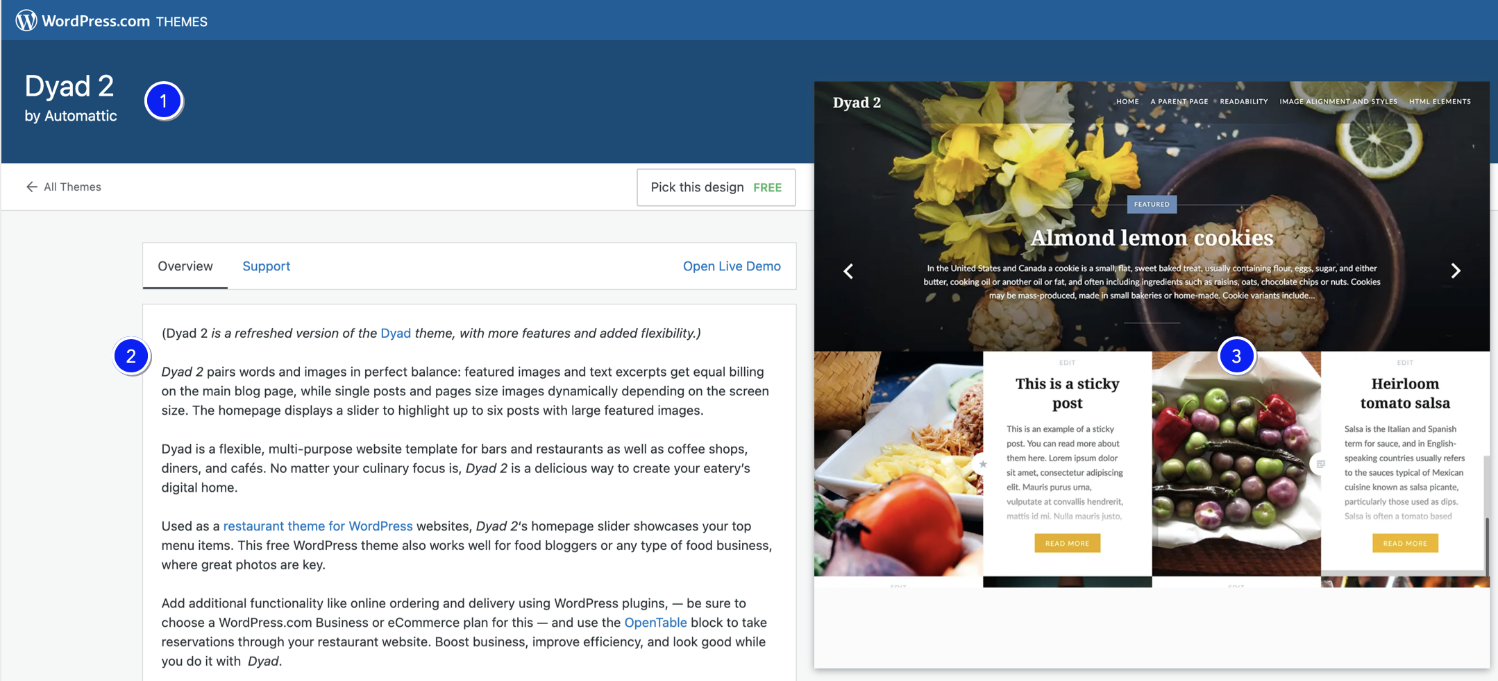 A screenshot of the Dyad 2 themed template on WordPress.com, including a block of text explaining the template's equal attention to words and images, and a sample use of the template to showcase recipes. The numbers 1, 2, and 3 on the screenshot correspond to my comments.